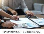 business team meeting working... | Shutterstock . vector #1050848702
