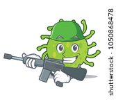 army green bacteria character... | Shutterstock .eps vector #1050868478