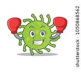 boxing green bacteria character ... | Shutterstock .eps vector #1050868562