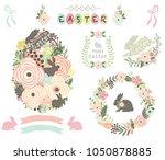 floral easter egg elements | Shutterstock .eps vector #1050878885