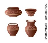 realistic clay pot set. ceramic ... | Shutterstock .eps vector #1050883922