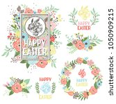 easter greeting collection set | Shutterstock .eps vector #1050909215