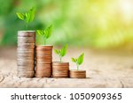 tree growing on coins stack... | Shutterstock . vector #1050909365