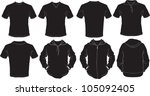vector set of male shirts... | Shutterstock .eps vector #105092405