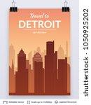 detroit famous city scape. flat ... | Shutterstock .eps vector #1050925202