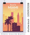 miami famous city scape. flat... | Shutterstock .eps vector #1050925208