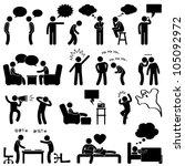 man people talking thinking... | Shutterstock . vector #105092972