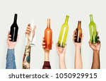 hand holding variation of object | Shutterstock . vector #1050929915