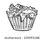 laundry basket   retro clipart... | Shutterstock .eps vector #105093188