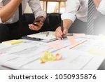 businessman develop plan and... | Shutterstock . vector #1050935876