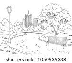 park graphic black white bench... | Shutterstock .eps vector #1050939338