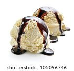 ice cream scoops with chocolate ... | Shutterstock . vector #105096746