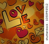 doodle hearts  love text and... | Shutterstock .eps vector #1050993512