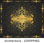 vintage gold frame on the black ... | Shutterstock .eps vector #105099482