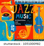 poster for the jazz musical... | Shutterstock .eps vector #1051000982