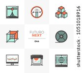 modern flat icons set of 3d...   Shutterstock .eps vector #1051018916