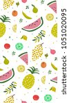 bright pattern with cute fruits.... | Shutterstock .eps vector #1051020095