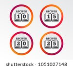 cookbook icons. 10  15  20 and... | Shutterstock .eps vector #1051027148
