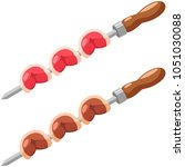 picanha on a skewer raw and... | Shutterstock .eps vector #1051030088