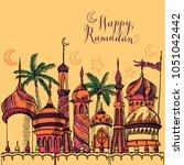 ramadan greeting illustration...   Shutterstock .eps vector #1051042442