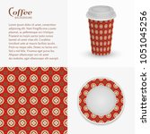 cardboard paper cup of coffee... | Shutterstock .eps vector #1051045256