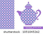 teapot with decorative ornament ... | Shutterstock .eps vector #1051045262