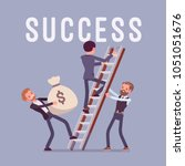 ladder to success. team of... | Shutterstock .eps vector #1051051676
