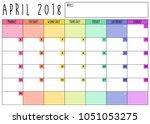 april 2018 calendar planner... | Shutterstock .eps vector #1051053275