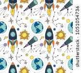 seamless vector pattern with... | Shutterstock .eps vector #1051054736