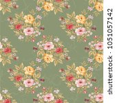 seamless floral pattern with... | Shutterstock .eps vector #1051057142
