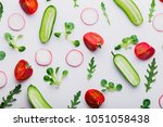 fresh green salad sprouts ... | Shutterstock . vector #1051058438