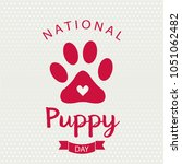 national puppy day card or... | Shutterstock .eps vector #1051062482