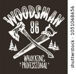 lumberjack vintage label ... | Shutterstock .eps vector #1051068656