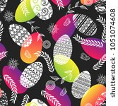 easter painted egg and floral... | Shutterstock .eps vector #1051074608