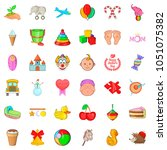 baby care icons set. cartoon... | Shutterstock . vector #1051075382