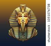 golden sarcophagus of the... | Shutterstock . vector #1051076738