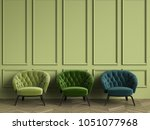 3 tufted green armchairs in... | Shutterstock . vector #1051077968