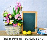 spring holiday frame of flowers ...   Shutterstock . vector #1051086176