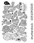 big doodle set  coloring page... | Shutterstock .eps vector #1051092035