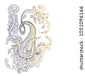 paisley. detailed hand drawn... | Shutterstock .eps vector #1051096166