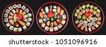 sushi set nigiri  rolls and...   Shutterstock . vector #1051096916