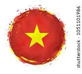 round grunge flag of vietnam...