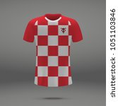 football kit of croatia 2018  t ... | Shutterstock .eps vector #1051103846
