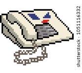 vector pixel art old telephone... | Shutterstock .eps vector #1051116332