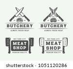 set of vintage butchery meat ... | Shutterstock .eps vector #1051120286