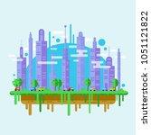 city illustration in flat style.... | Shutterstock .eps vector #1051121822