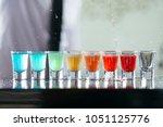 bartender pours alcoholic drink ... | Shutterstock . vector #1051125776