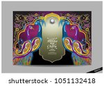 indian wedding invitation card... | Shutterstock .eps vector #1051132418