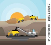 coal mining at an open pit with ... | Shutterstock .eps vector #1051135052