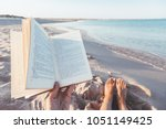 relax concept. reading book... | Shutterstock . vector #1051149425